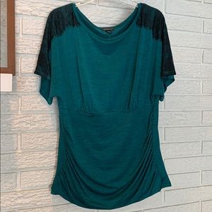 Green Womens Plus Size Top with Black Lace Detail